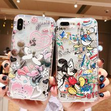 Doodle Graffiti Scribble Minnie Mickey Mouse Cartoon Clear Soft TPU Cover Case For iPhone XS Max XR X 6 6S 7 8 Plus(China)