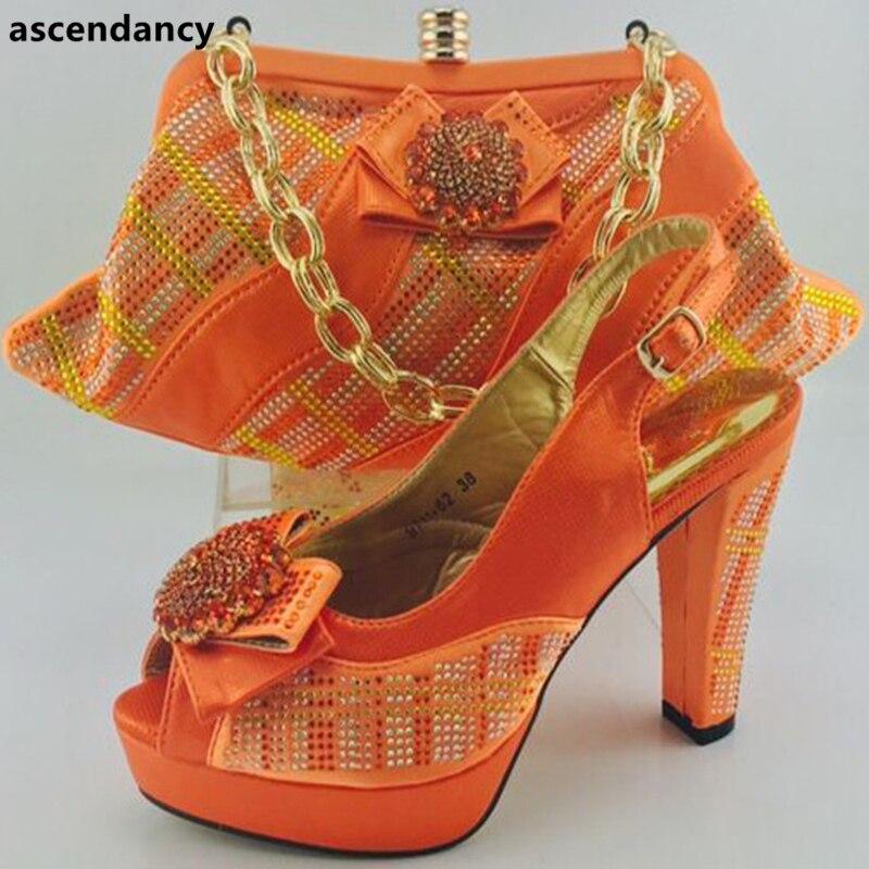 Italiennes Avec Et Nigérian Dernières Strass Ensemble De Mariage Chaussures Sac Orange Décoré rose Femmes Italien Dames tzzq0E