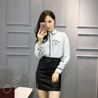 Autumn Women Shirts Full Sleeve Embroidery Striped Socialite Small Sweet Wind Leather Rivet Outfit Blouse Shirt