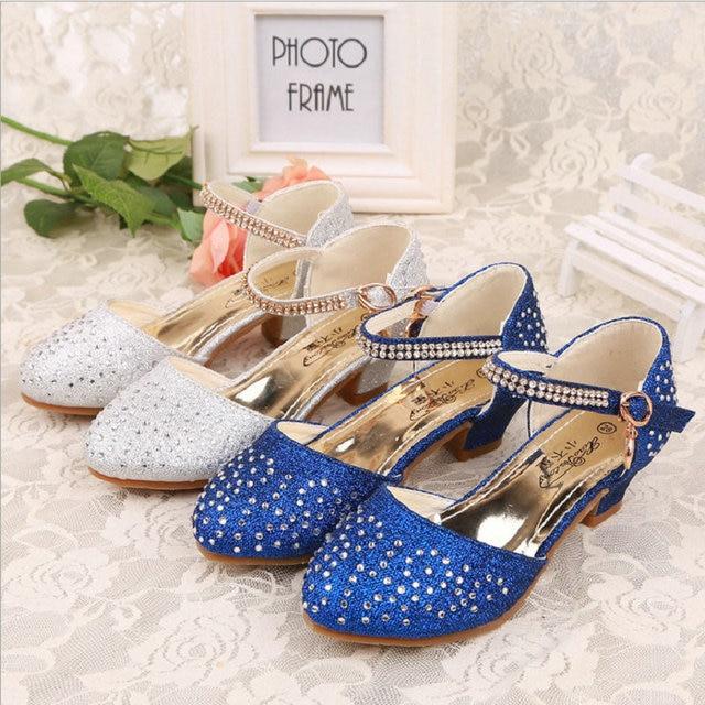 qloblo 2018 Children Princess Sandals Summer Girls Rhinestone Wedding Shoes  High Heels Dress Shoes for Kids size 28~37 d7f92e2f2221