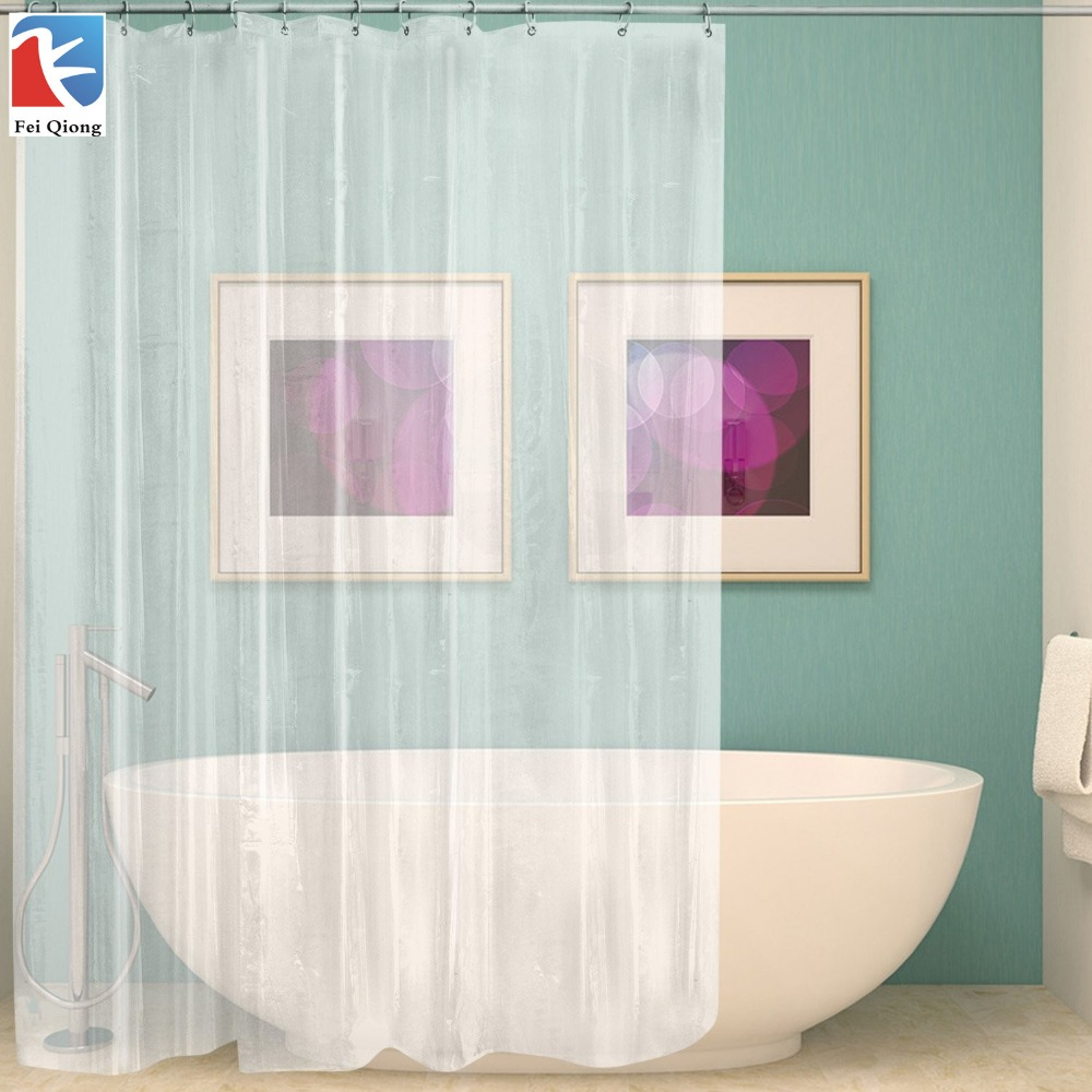 FeiQiong Brand Clear Shower Curtain Liner 72x72, Waterproof Mildew Resistant for The Bathroom, 12 Metal Grommets and Hooks