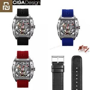 Image 1 - Youpin ciga z シリーズ中空アウト機械式腕時計腕時計シリカゲルファッション高級自動革リストバンドギフト