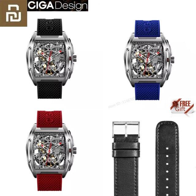 Youpin ciga z シリーズ中空アウト機械式腕時計腕時計シリカゲルファッション高級自動革リストバンドギフト