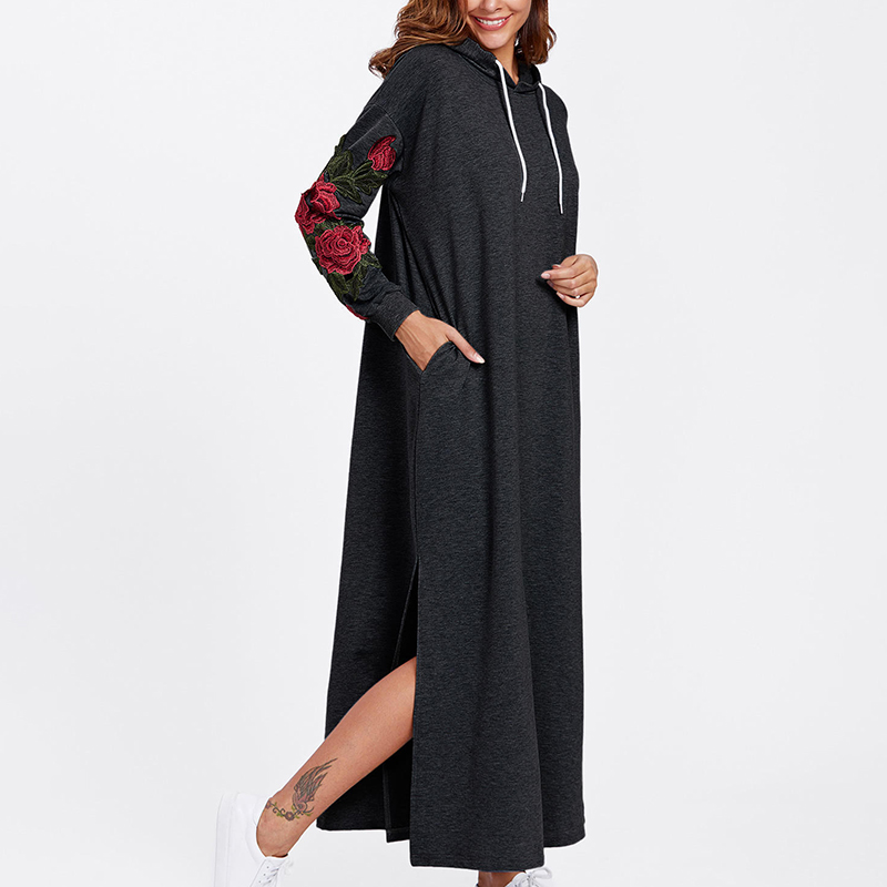 2018 Fashion Embroidered Hooded Women Long Dresses Spring Autumn Casual Loose Warm Dress Hoodies Sweatshirt Dress Black 6q2492 Women's Clothing