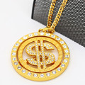 Set auger Dollar sign spinner pendants High Quality Hiphop gold plated 70cm Long Cuban chain statement necklace MEN Jewelry