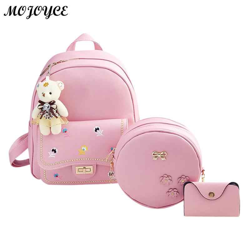 3pcs/Set Women Fashion Flower Embroidered Backpack Set 4 Colors Backpacks for Teenagers Girls PU Leather Soft Shoulder Bags
