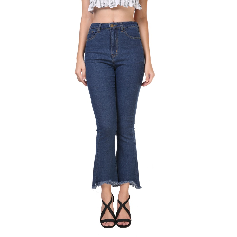 |fifteen fashion women vintage tassels denim pants casual pocket mid waist jeans for lady flare trousers bottoms pnt010-19