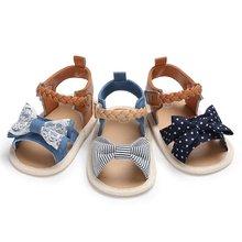 03592d1b94525 Hot Bébé Chaussures Bébé Fille Sandales D été Coton Toile Pointillé Arc  Bébé Fille Sandales Nouveau-Né Bébé Chaussures En Plein .