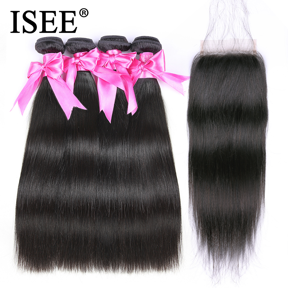 ISEE Peruvian Straight Hair Bundles With Closure Human Hair Bundles With Closure Free Part Remy 4 Bundles Straight Hair Weave