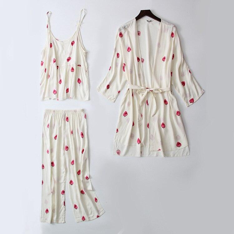 Daeyard Sleep Lounge 3 Pieces Cotton Pajama Sets Women White Strawberry Print Pyjamas Sleepwear Cute Pajamas Spring Home Suit