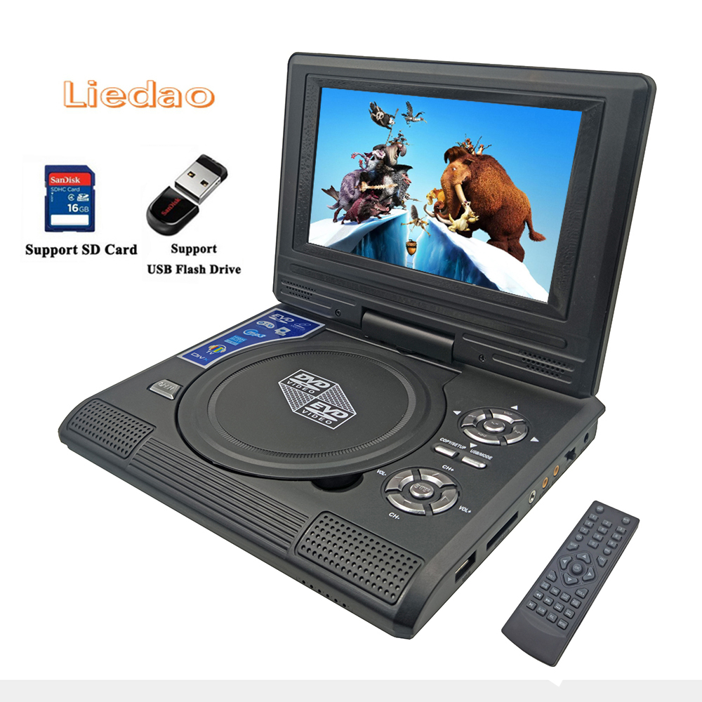 Liedao 7.8 inch Portable DVD EVD VCD SVCD CD Player With Game and radio Function TV AV Support SD MS MMC Card 9 portable dvd player w game radio function black
