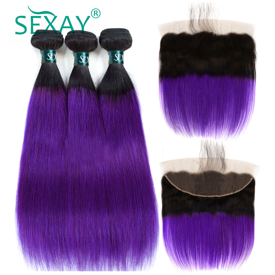 Ombre Brazilian Straight Hair Bundles With Frontal Closures SEXAY Ombre Purple Colored Human Hair Bundles With