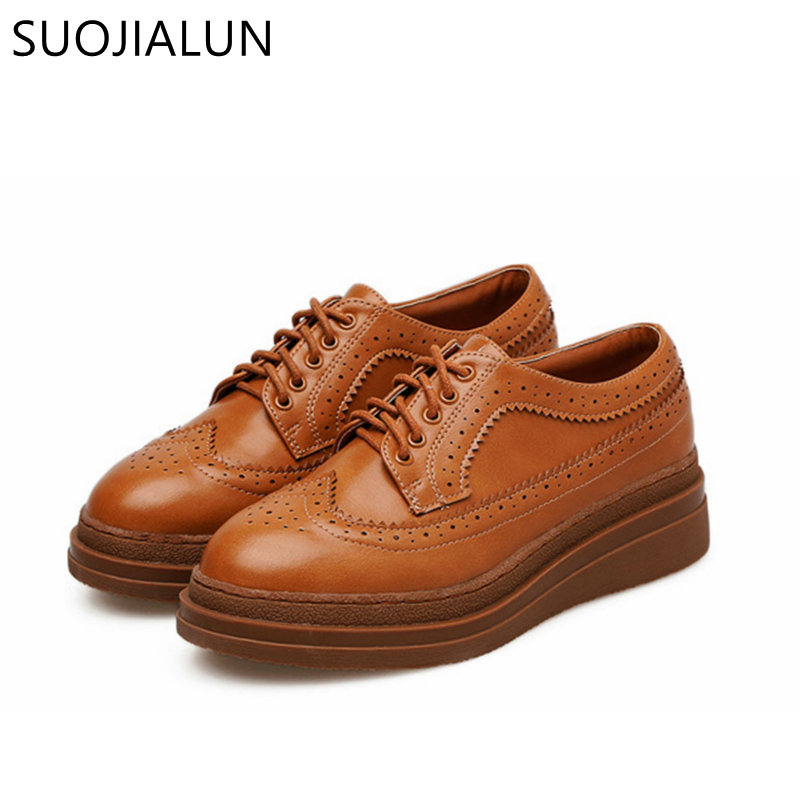 SUOJIALUN Women Flats Oxford Shoes Woman Round Toe Lace-Up Platform Brogue Shoes For Ladies New Fashion Creepers flats brogue shoes woman genuine leather custom made lace up black oxford shoes for women chaussures femme scarpe donna