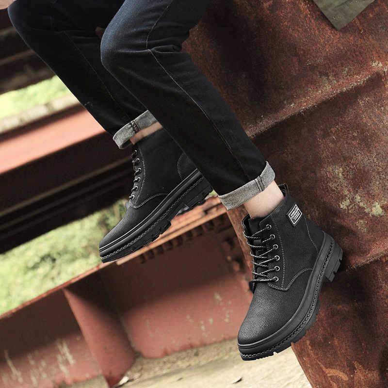 Мужские ботинки martin в британском стиле; Прочные мотоботы на толстой подошве; модная обувь в стиле хип-хоп; мужские черные кожаные мужские защитные сапоги