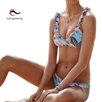 Tengweng 2018 Nueva sexy Tanga Estampado floral Mujeres de la Colmena Del Traje de Baño Acolchada traje de Baño Brasileño Bikini Barato de La Vendimia Más tamaño Hembra