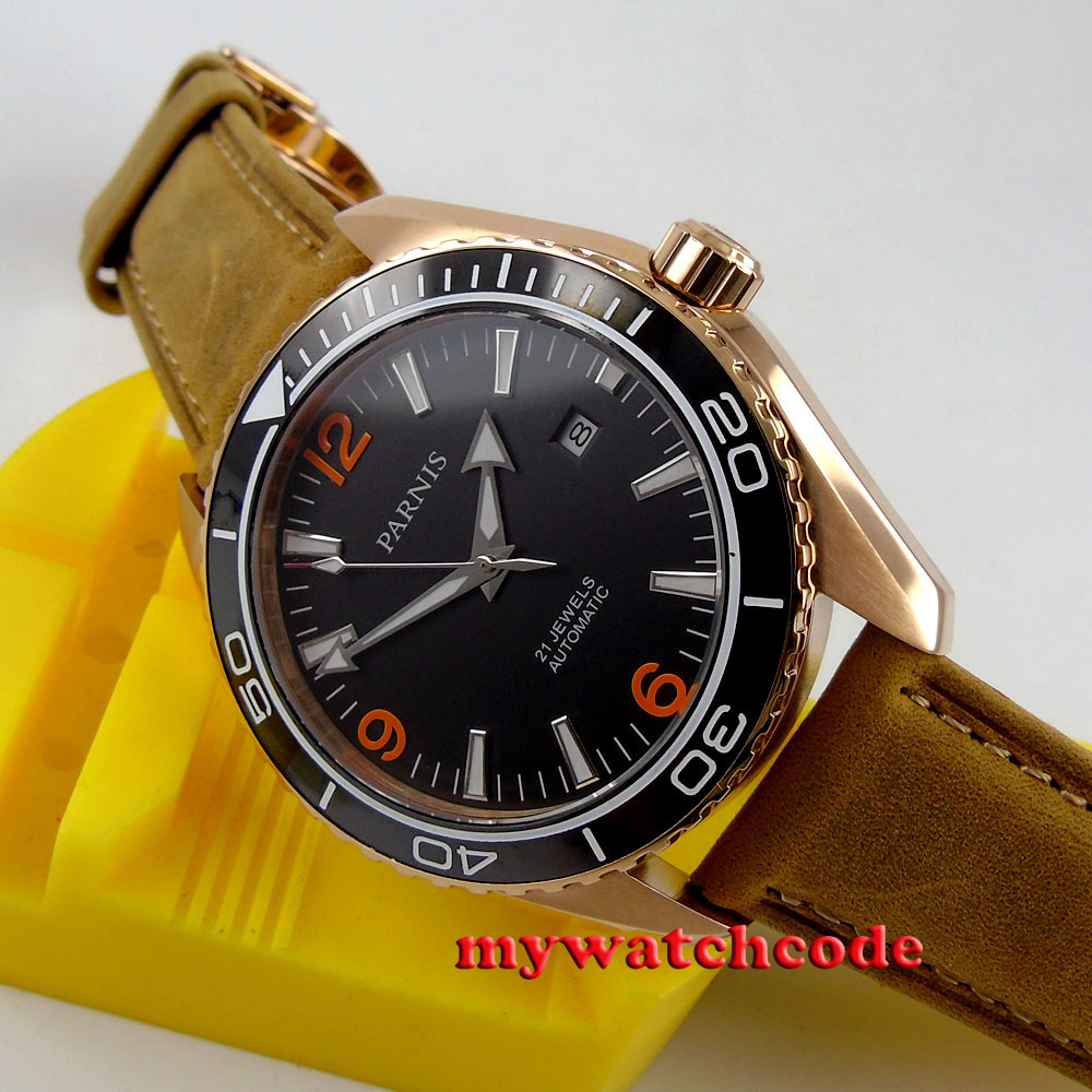 45mm Parnis black dial golden plated case Sapphire Glass Automatic mens Watch306 цена