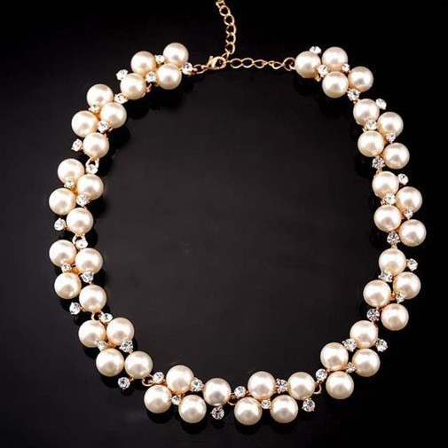New Charming Women's Fashion Shiny Alloy Golden Rhinestone Faux Pearl Beads Necklace Jewelry For Casual Wedding