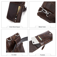 WESTAL Crossbody Men Messenger Bags Genuine Leather Belt Bag Men Messenger Bag Vintage Cover Casual Solid Zipper Small Belt Bag