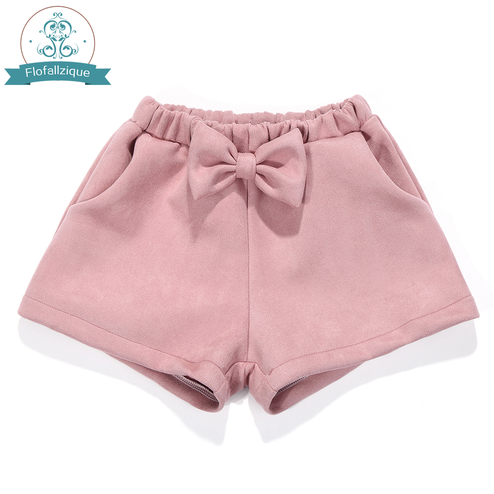 Toddler Girls   Shorts   2018Autumn winter Elastic Waist Loose Suede   Short   Pants Fashion bowknot Pink Baby Girl   Shorts   kids Clothing