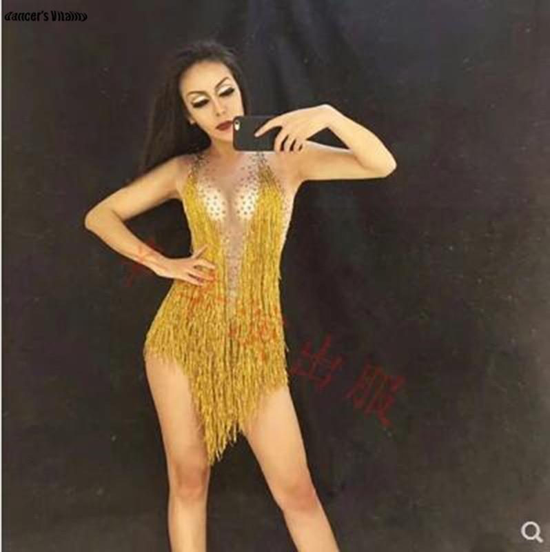 Luxury Sparkly Crystals Tassel Bodysuit Costume Celebrate Rhinestones Birthday Yellow Diamonds Leotard Sexy Nightclub DS Dres