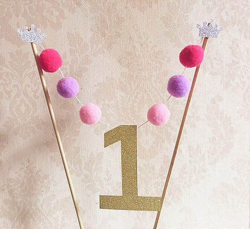 New Gold 1st Birthday Cake Toppers Bunting Party Deco Wedding Baby Shower Decoration Pompons Handmade 1 Flag In Decorating Supplies