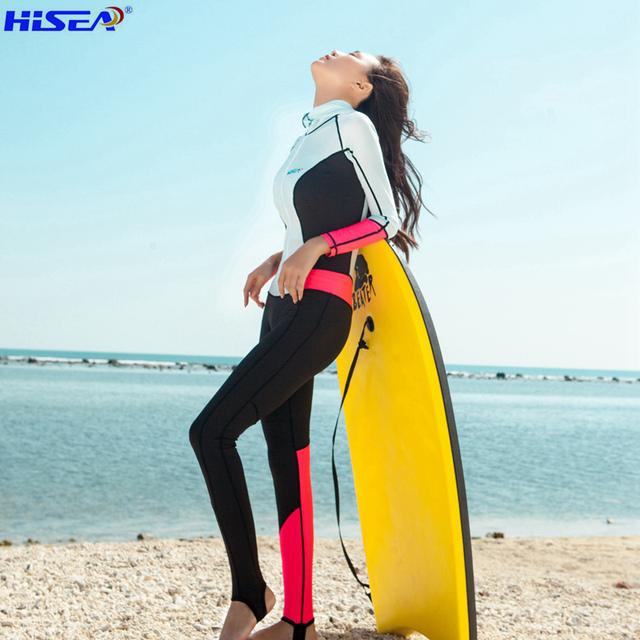 Hisea 0.5mm Women Wetsuit Rashguard Swimsuit Equipment Diving Scuba Swimming Surfing One-piece Elastic Suits Triathlon Wetsuits