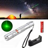 Comprimento de Onda 532nm 1 mW Green Laser Pointer Pen Feixe de Luz de Alta Potência + 18650 + Carregador + Estojo Grátis grátis