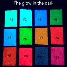 12 cores moda brilho super brilhante no pó escuro brilho luminoso pigmento fluorescente pó brilhantemente colorido 10 g/saco