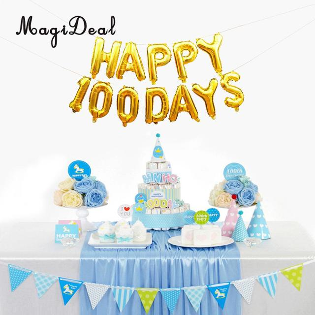 Happy 100 Days Foil Balloons Wedding Anniversary Baby Birthday Party Decor Silver