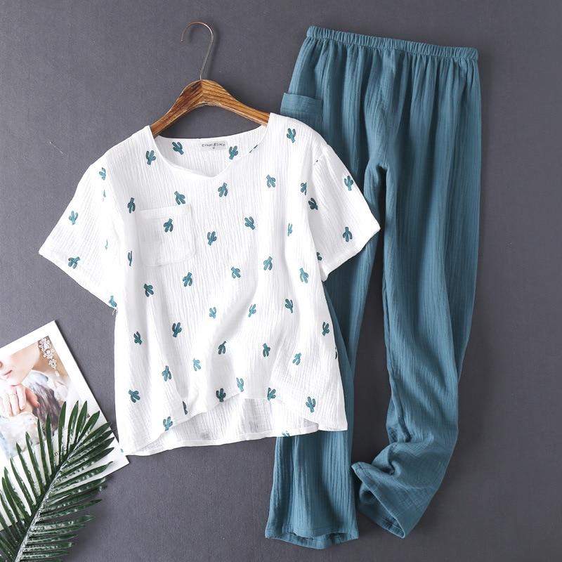 2019 Women's Cotton Pyjamas Water-washed Pijamas Crepe Yarn Short Sleeve Long Pants Sleepwear Home Suit   Pajamas   2-piece   Set