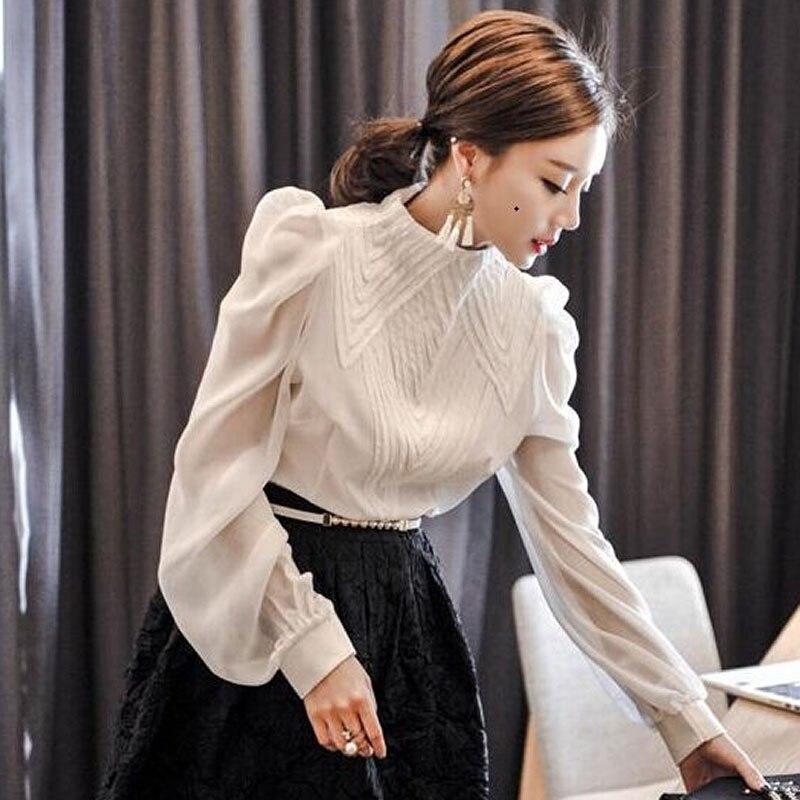 Elegant Stand Collar   Blouse     Shirts   Pleated Lantern Tiered Sleeve   Blouses   Office Ladies Transparent blusa tops femininas 2018