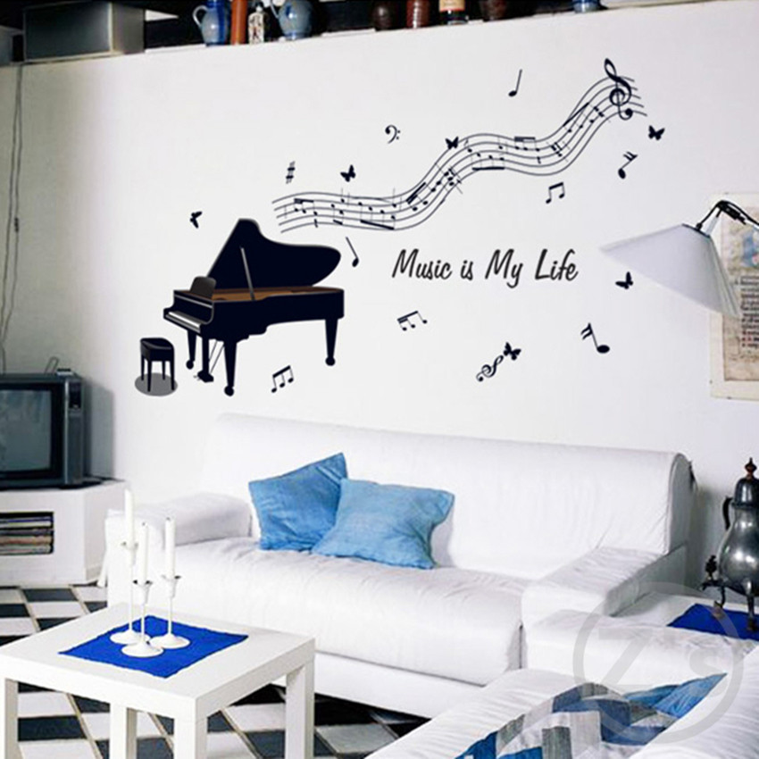big 50cm * 70cm Piano wall stickers Musical equipment home decor music adhesive for Musician minstrel ay7190  Стикер