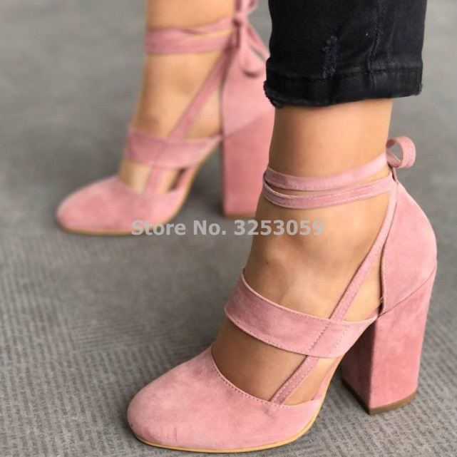 Young Ladies Loved Sweet Chunky Heel Shoes Lace-up Cross Strappy Dress Pumps Mary Janes Suede Shoes Cut-out Pink Red Blue Black criss cross cut out bodycon tank dress