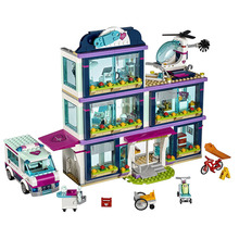 Fit Friends 41318 Heart Lake Hospital With Figures Ambulance 01039 932pcs Building Blocks Set Toys for Kids Girls Gifts friends girls series blocks 932pcs compatible legoingly friends 41318 heartlake hospital kids bricks diy girl gifts
