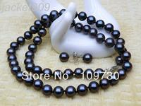 Jewelry 00349 Fine round 7 7.5mm blue akoya pearl necklace earring set