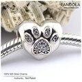 Contas pavimentar eu amo meus encantos do animal de estimação original 925 sterling silver coração pegada bead diy fazer jóias serve para pandora pulseiras