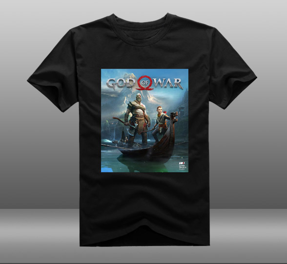 2018 Game God of War 4 Poster T-shirts Kratos Atreus Mens Casual Short Sleeve Cotton O-Neck Printing Pattern Tops Tee Shirts