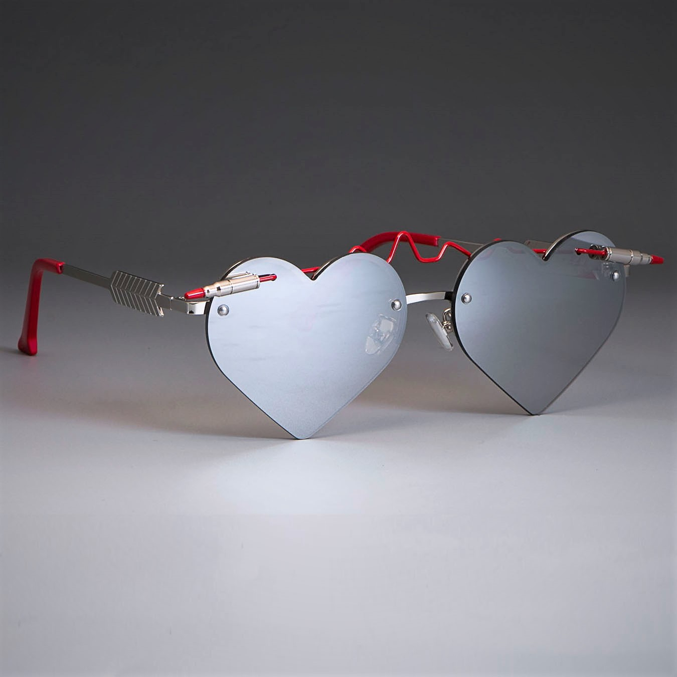 Red Bullet Heart Shaped Sunglasses 4