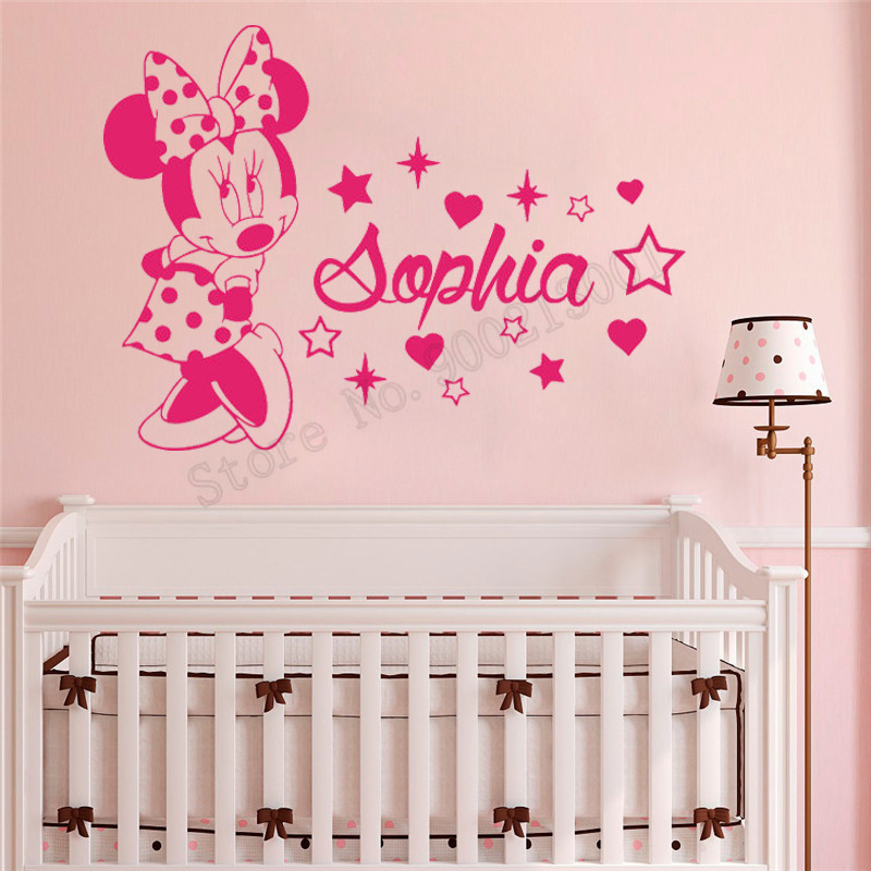 Beauty Kidsroom Babyroom Wall Decoration With Personalized Name Poster Minnie Mouse Cute Mural Decals Ornament LY918