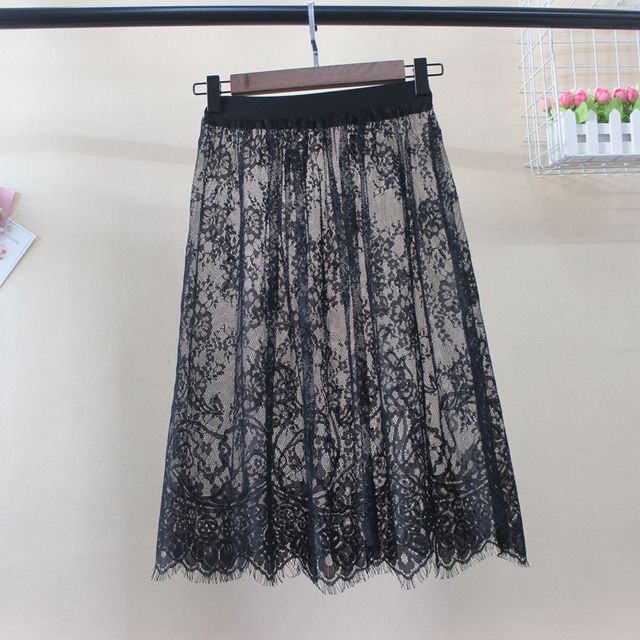Women Autumn Winter Lace Skirts Casual Elegant Mesh Transparent Hollow Out short A Line Black White Skirt Overskirt Underskirt