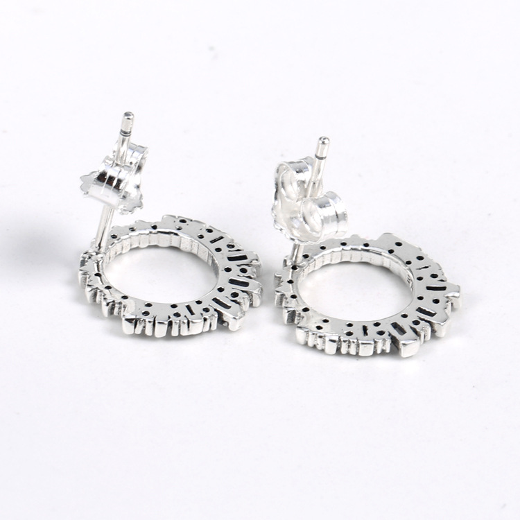100% 925 Sterling Silver Shining Glacial Beauty Earrings Clear CZ Glacial Beauty Earrings for Women Gift Diy Jewelry Making