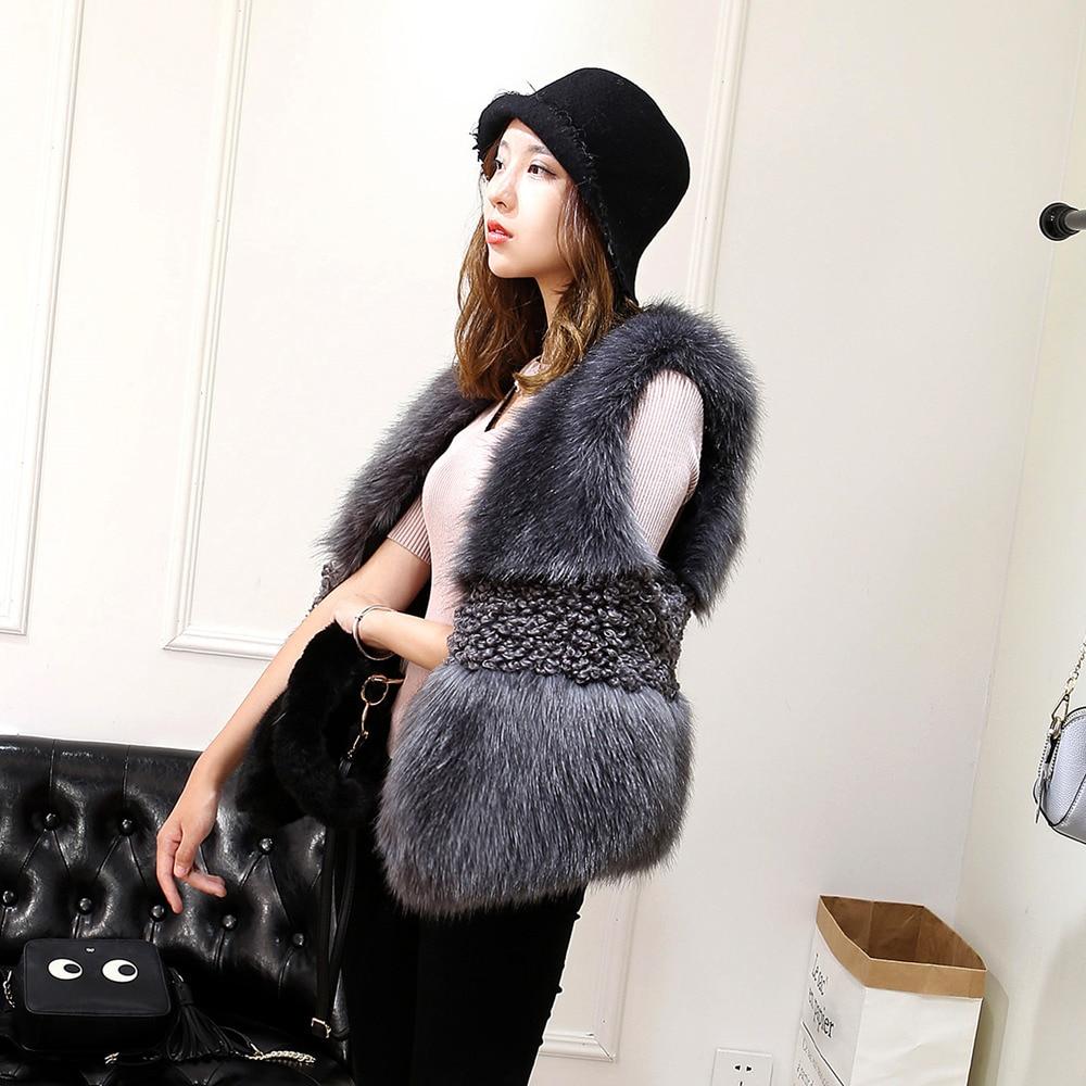 Fourrure gris Veste Manteau Et Renard Hiver Mince Coréenne De Nouvelle Gilet Court Automne Imitation Vert Femmes Couture Agneau wIZAqFFT
