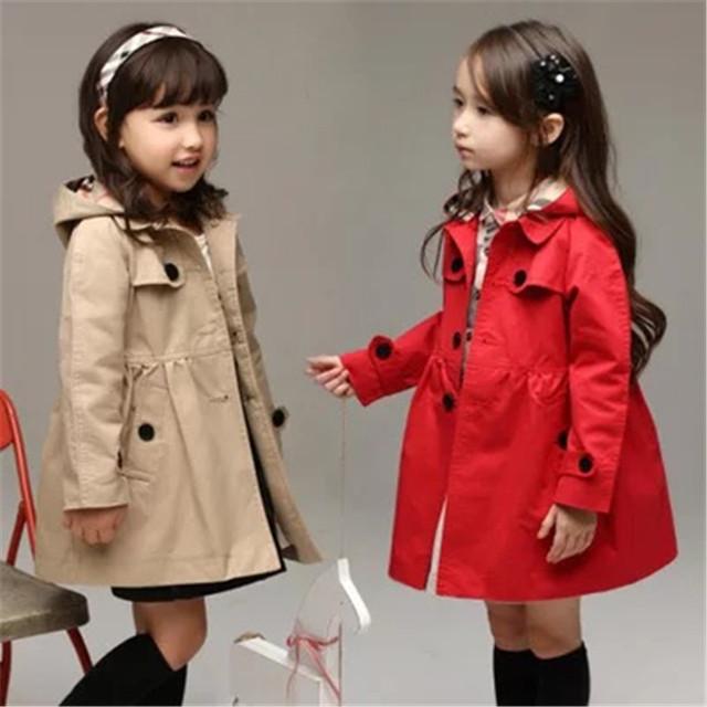 Ropa para niños Chica Trench Coat 2017 Nueva Primavera Manera de La Muchacha Chaquetas Niños Prendas de Abrigo y Abrigos Trench Sudaderas Con Capucha Chicas chaqueta
