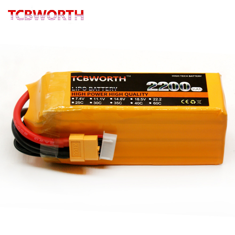 TCBWORTH RC LiPo battery 6S 22.2V 2200mAh 60C Max 120C For RC Airplane Helicopter Quadrotor High Rate Cell RC LiPo battery 6S(China)