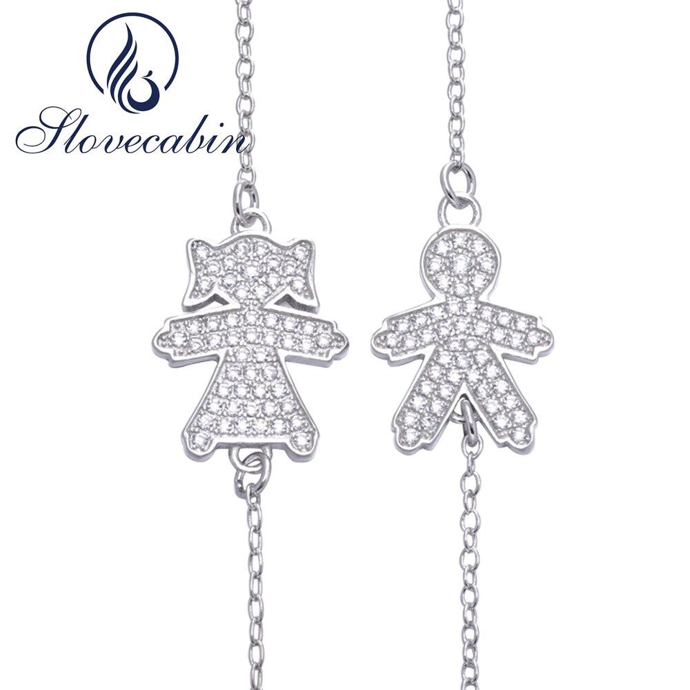 Slovecabin Европа Популярные ювелирные изделия из стерлингового серебра 925 Мальчик и девочка браслет для новой мамы серебряная цепь браслет 16 цв...