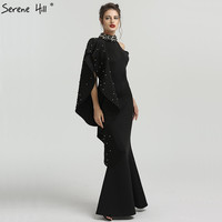 Llong Black Beaded Satin Mermaid Formal Evening Prom Gown Dress Party Mother Of The Bride Robe De Soiree Kaftan Dubai BLA6575