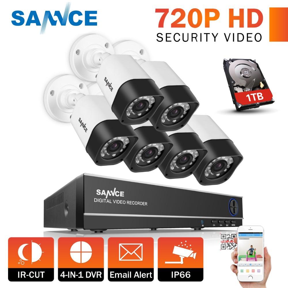 SANNCE 8CH 720P CCTV System 1080P HDMI Output DVR Kit 6pcs 1280tvl 1.0MP Surveillance Security Cameras 1TB HDD цена