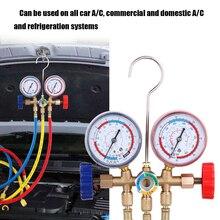 냉매 매니 폴드 게이지 세트 R12 R22 R404A R134A 공기 상태 냉동 용 호스 및 후크가있는 에어컨 도구