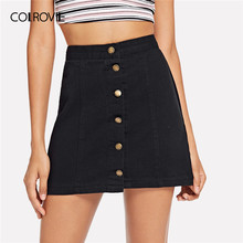 25b49211a9 COLROVIE negro sólido botón Denim Casual falda mujeres falda de verano de  2019 Streetwear coreano una línea Mini falda de oficin.