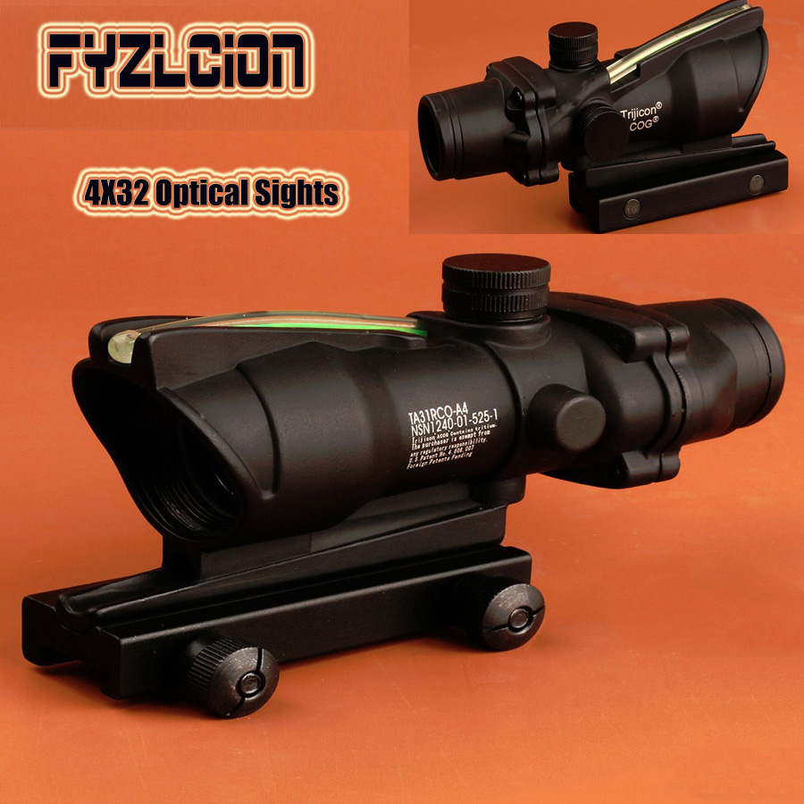 Hunting red dot Riflescope ACOG 4X32 Real Fiber Optics Red Green Illuminated Glass Etched Reticle Tactical Optical Sight trijicon acog 4x32 red dot sight scope tactical hunting scopes real green red fiber riflescope optics for rifles